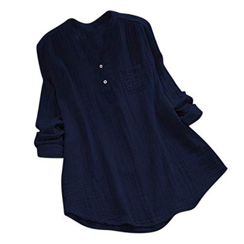 iHENGH Damen Bequem Mantel Lässig Mode Jacke Frauen Frauen mit Langen Ärmeln Vintage Floral Print Patchwork Bluse Spitze Splicing Tops(Marine-c, 2XL)