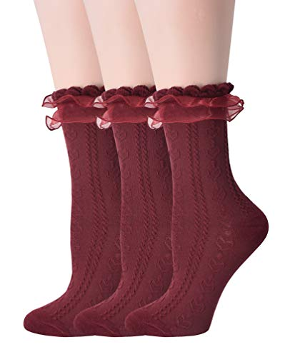 SRYL Women Ankle Socks, Lace Ruffle Frilly Comfortable Cotton Socks Fashion Ladies Girl Princess (3 Pairs-Wine red)