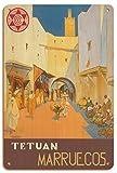 Póster vintage de madera de Mariano Bertuchi de Tétouan (Tetuán) – Marruecos (Marruecos) – Ciudad de la Paloma Blanca – Póster vintage de viaje de Mariano Bertuchi C.1940-8 pulgadas x 30 cm