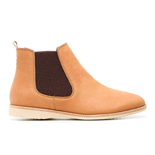 Rollie Women's Chelsea Cognac, Slip On Leather Ankle Booties Brown Flat Boots for Women with Elastic Panels, Size 10 US / 41 EU…