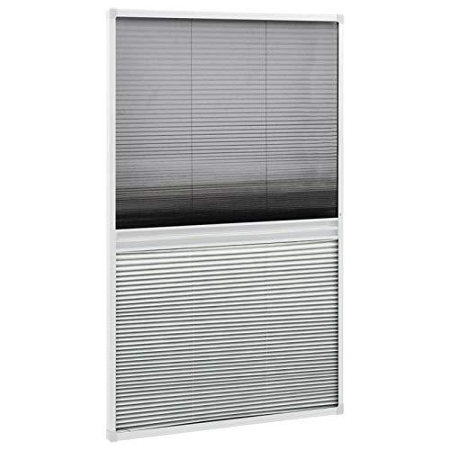 Tidyard Mosquitera Plisada para Ventanas con Sombra Cortina de Ventana Plisada para Ventanas Aluminio 60x160 cm