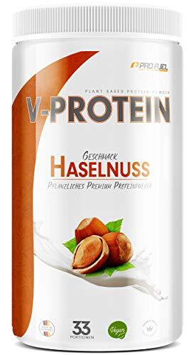 Vegan Protein Pulver - V-PROTEIN, 1 KG | Pflanzliches Eiweißpulver auf Erbsenprotein-Basis | 78,7% Eiweiß-Gehalt | Hohe Wertigkeit | Protein-Shake speziell zum Muskelaufbau | HASELNUSS