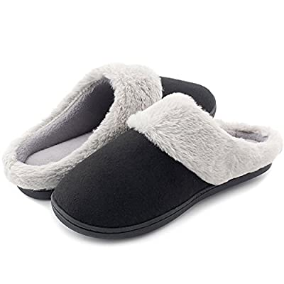 HomeIdeas Women's Woolen Fabric Memory Foam Anti-Slip House Slippers, Winter Breathable Indoor Shoes