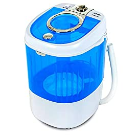 KUPPET Mini Portable Washing Machine for Compact Laundry, 7.7lbs Capacity, Small Semi-Automatic Compact Washer with… 1 ▲【Compact Size】The washer is great for dorms, apartments, condos, motorhomes, RVs, camping and more. Its light and small shape offers greater flexibility and allows you to move it easily. ▲【User Friendly】Clear lid makes you easy to see and monitor the water condition. And the small size with low power consumption can save much energy. ▲【Timer Control】Single tub washing machine up to 15 minutes wash control timer to meet your different needs.