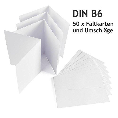 Jumbo-Set 50 x Faltkarten DIN B6 weiß + 50 x Umschläge, blanko