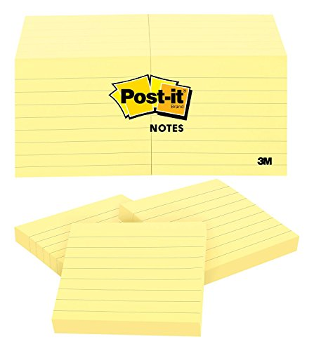 Post-it Notes, America's #1 Favorite Sticky Note, 3 x 3-Inches, Canary Yellow, Lined, 12-Pads/Pack