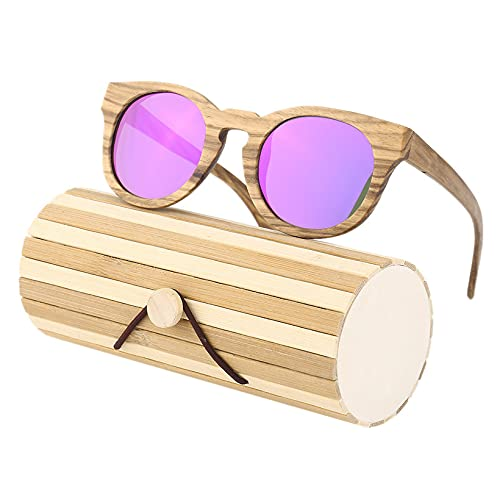 Bellaluee Sk-1225 Sookie, cómodas Gafas de Sol con Montura de Madera de Cebra para Hombre, Mujer, Gafas UV 400, protección polarizante, Gafas de Sol de Moda