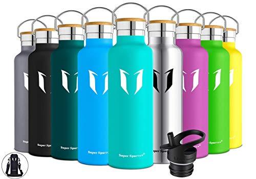 Super Sparrow Trinkflasche Edelstahl Wasserflasche - 750ml - Isolier Flasche mit Perfekte Thermosflasche für Das Laufen, Fitness, Yoga, Im Freien und Camping   Frei von BPA (Minze)