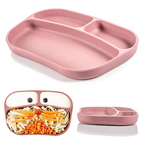MiaMia Plato de silicona para bebé con compartimentos - Plato antideslizante con agarre/Plato aprendizaje antivuelco para mesa y trona, apto para lavavajillas (rosa)