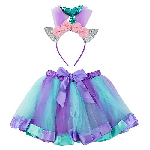 FENICAL Kostüm Meerjungfrau Kinder Tutu Kleid Katzenohren Stirnband Geburtstag Party Kostüm Cosplay für Kinder Mädchen 4-5 Jahre alt (M)