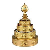 Tibetan Mandala Buddahの装飾、癒しとマインドフルネスのためのネパールで手作り、宗教彫刻家のオフィステーブルの装飾飾り,真鍮