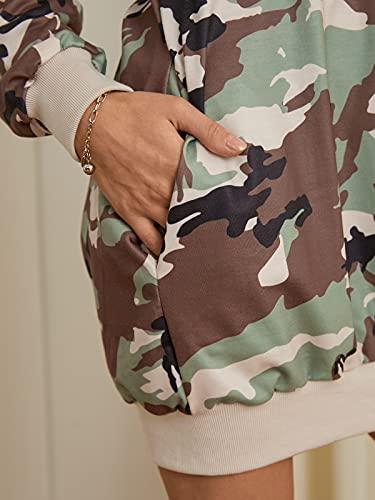 Auxo Sudaderas con Capucha para Mujer Jersey Manga Larga Camuflaje Bolsillos Casual Talla Grande Sudadera Vestido Hoodie Camuflaje 3XL