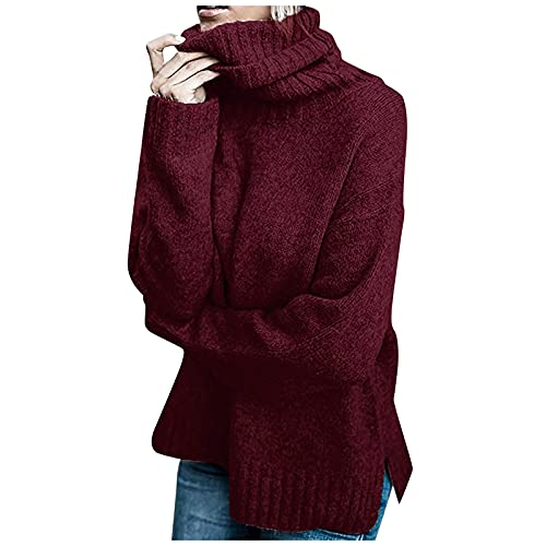 Hemlock Women Winter Knitted Sweater Turtleneck Cropped Sweater Coat High Collar Outerwear Pullovers Red