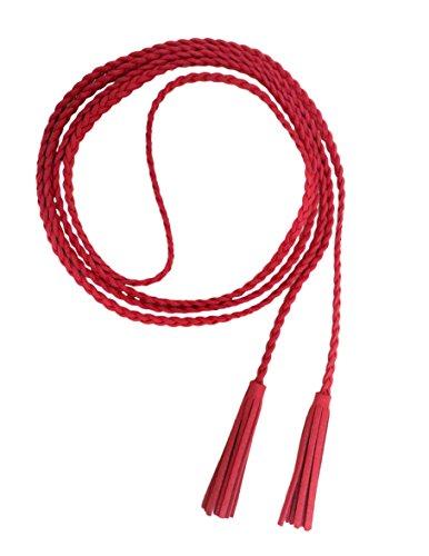 Nanxson Damen Taillengürtel Gewebte Quasten Kettengürtel Leder Dünner Gürtel für Kleid PDW0042 (rot