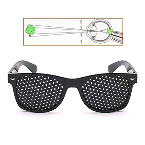 Rsiosler Männer Frauen Schwarz Anti-Myopie kleines Loch-Glas-Anblick Brille Sehkraft Verbesserer Pin-Loch-Augen Training Exercise Brillen Brillen Sehkorrektur Goggle (Color : 1PCS)