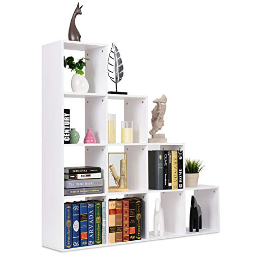 COSTWAY Scaffale a Scala, Libreria a Cubi in Legno con 10 Scomparti per Casa Ufficio Studio, Bianco