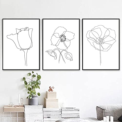 TXTYUMR 3 Piece Plant Wall Art Line Flowers Sketch Print Botanical Drawing Canvas Painting Scandinavian Poster Art Wall Picture for Living Room/kein Rahmen