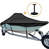 iCOVER Trailerable Boat Cover, 600D Heavy Duty Boat Cover Fits V-Hull Center Console Boat 22ft-24ft Long and Beam Width up to 102in, Windshield Height up to 30in, Boat Cover Support Pole Included