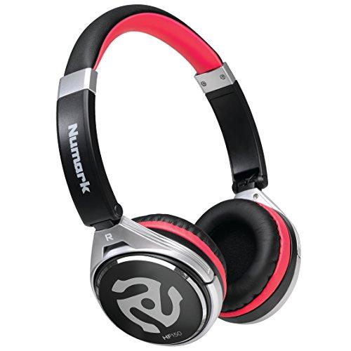 Numark HF150 - Auriculares de diadema cerrados (ligeros para DJ con audífonos rotativos), color negro y rojo