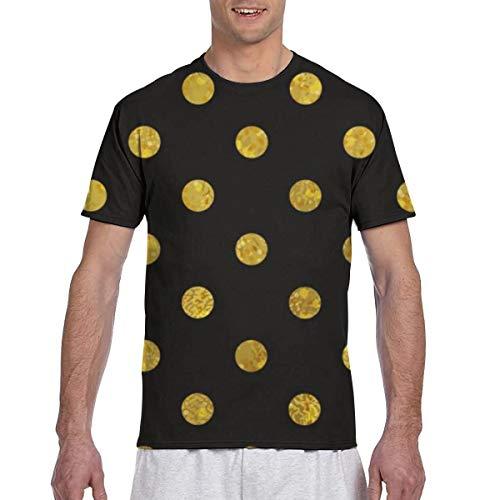 Camisetas de Hombre Patrón Negro y Dorado Lunares Abstractos Athletic Running Gym Workout Camisetas de Manga Corta
