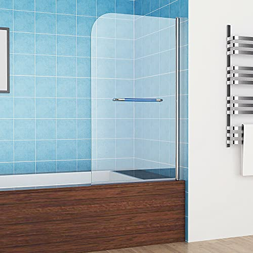 MIQU 80 x 140 cm Badewannen 1-teilig Aufsatz 180° Duschwand Duschabtrennung 6mm Nano Glas mit Handtuchhalter ZBY