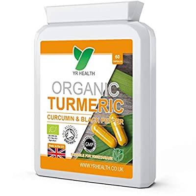 Organic Turmeric Curcumin High Strength Capsules & Black Pepper Extract 600mg | Letter Box Friendly Flat Postal Bottle | Maximum Absorption | 2 Month Supply | Vegan Friendly | Made in the UK