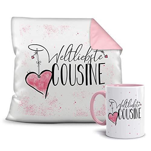 Geschenkset für die Weltbeste Cousine - Tasse und Kissen - Altrosa/Verwandte/Geschenk-Idee/Liebling/Familie