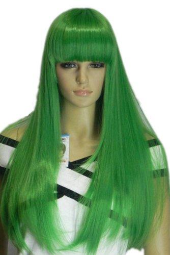 Qiyun Longue Raide Vert Partie Resistant a la Chaleur Fibre Synthetique Cheveux Complete Cosplay Anime Costume Perruque