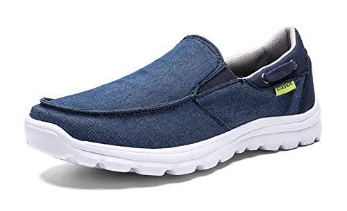 Gaatpot Hombre Zapatos de Lona Mocasines Verano Sneaker Zapatos Casual Canvas Ponerse Zapatillas de Deporte Azul 38EU-47CN