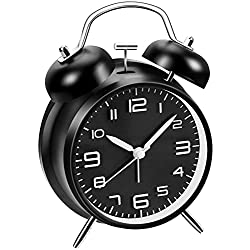 Loud Alarm Clock for Heavy Sleepers, 4 inches Analog Clocks with Backlight, Twin Bell Alarm Clock for Bedroom Bedside Desk Battery Operated