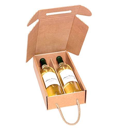 Kartox   Estuche de Cartón para 2 Botellas de Vino   Estuche Horizontal de Cartón con Asa   10 Unidades