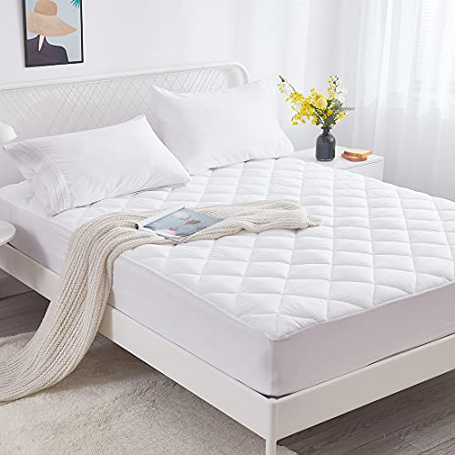 """Bioeartha Mattress Pad, Queen Size Quilted Fitted Mattress Cover, Soft Down Alternative Filled Mattress Topper, Cooling Breathable Fluffy Mattress Protector, with Deep Pocket to 8''-18"""" (Queen)"""