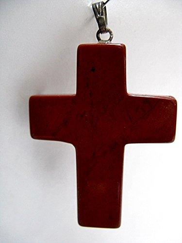 Natural Mente – Colgante de jaspe rojo, cruz, piedras preciosas, collar semipreciosas, jaspe rojo, n.º 1