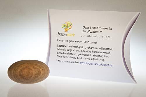 Baumstark Nussbaum 45mm mit Baumhoroskop (21.4-30.4. und 24.10. -2.11.) Handschmeichler, Holz, 8 x 11.5 x 2.8 cm