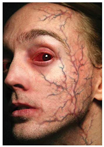 Fancy Me Erwachsene Herren Damen Realistische Wunden Narben Gore Blood Special FX Halloween Make Up Tattoo Transfers, One Size, Inflamed Veins