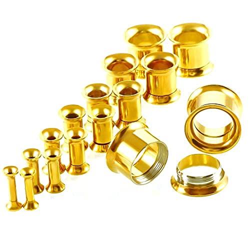 16 unids Acero inoxidable Ear Taper Taper Stiring Kit Gauge Exports Flesh Ear Tunnel Taps Librebe Pendientes Piercing Kit de inicio 2-12mm-Oro