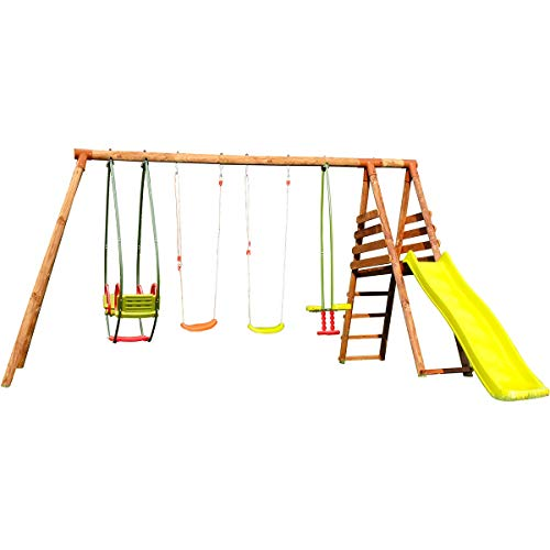 Soulet Wooden Swing and Slide Station with Gate – Fuji