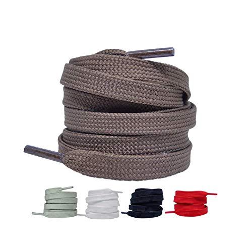 2 Paar - Premium Flache Schnürsenkel reißfeste Schuhbänder [10 mm breit ] Ersatz Shoelaces aus Polyester für Sneakers, Sportschuhe, Laufschuhe, Turnschuhe (Braun, 90)