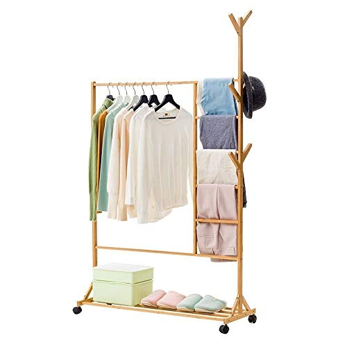 DAHAI Bamboo Coat Rack,With 4 Wheels For Jacket, Floor-standing Tree Stand Coat Hanger Umbrella, Clothes, Hats, Scarf, And Handbags Entryway Storage Shelves