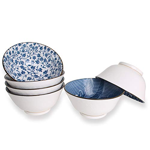 YALONG 20-Ounce, Deep Bowls for Cereal, Soup, Salad Rice 6 inch Assorted Blue and White Patterns Set of 6 Ceramic Deep White Simple Serving Soup Rice Salad Noodle Pasta Pho Bowls Set