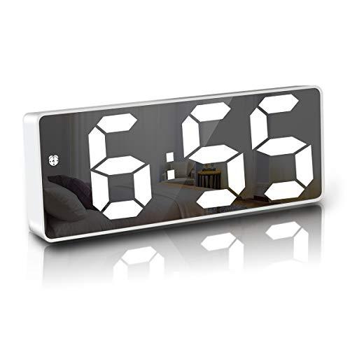 JQGo Wecker Digital, LED Digitaler Wecker Spiegel Tischuhr USB Wiederaufladbar Schlanker Wecker, 12/24 Stunden, Snooze, Sprachsteuerung, Temperatur Anzeige, Helligkeit Regelbar, Schlafzimmer, weiß