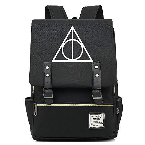 NYLY Adolescente Secundaria Escuela Secundaria Mochila Niños Bolsa de Almuerzo Harry Potter Ligero Impermeable Mochila Grande Negro C