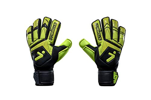 Storelli Gladiator Recruit 3.0 Goalkeeper Gloves   Youth Soccer Goalie Gloves with Finger Spines   Enhanced Finger and Hand Protection   Black & Yellow   Size 8