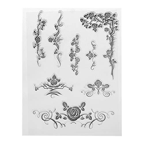 WuLi77 Silikon-Stempel mit Blumenranken-Motiv, transparent, für Karten, Schablonen zum Basteln, Prägen, Fotoalbum, Basteln, Handarbeit, Geschenk, Scrapbooking