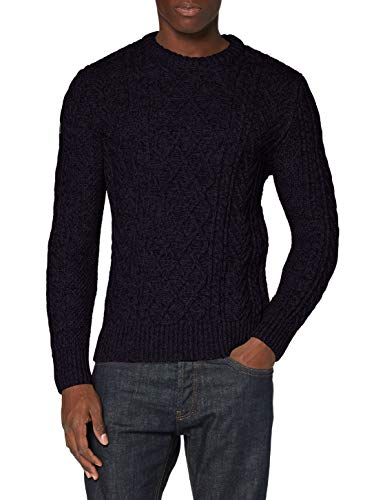 Superdry Mens Jacob Cable Crew Pullover Sweater, Downhill Navy, XXX-Large