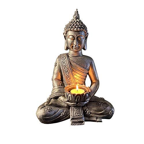 Buddha Figur Teelichthalter Buddha Figur Deko Zen Garten Feng Shui Buddha Kerzenhalter mit Teelichtern Harz Meditation Buddha Statue Buddha Skulptur für Haus Wohnung Garten Innen Außen (03)