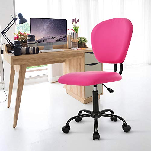 Office Chair Desk Chair Ergonomic Low Back Computer Chair with Lumbar Support Armless PU Leather Adjustable Height Rolling Task Swivel Chair for Women Men Adult, Pink