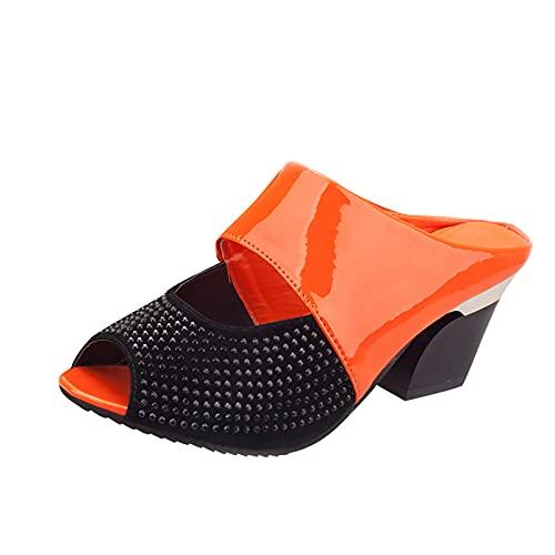 Sandalias de tacón cuadrado para mujer, sin cordones, con forma de almendra, sin respaldo, con tacón alto, naranja, 39 EU