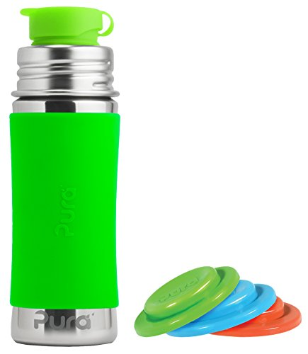 Buy Bargain Pura Sport Stainless Steel 11 Ounce Bottle - Green - Plus Set of 3 Sealing Disks