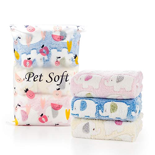 Pet Soft Blankets for Large Dogs, Fluffy Cats Dogs Blankets for Small Medium & Large Dogs, Cute Print Pet Throw Puppy Blankets 3 Pack